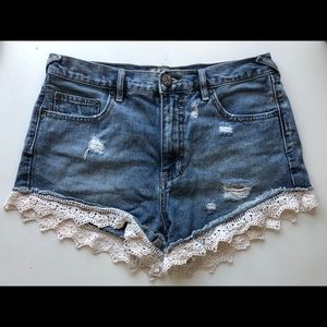 Free People Lace Trim Shorts
